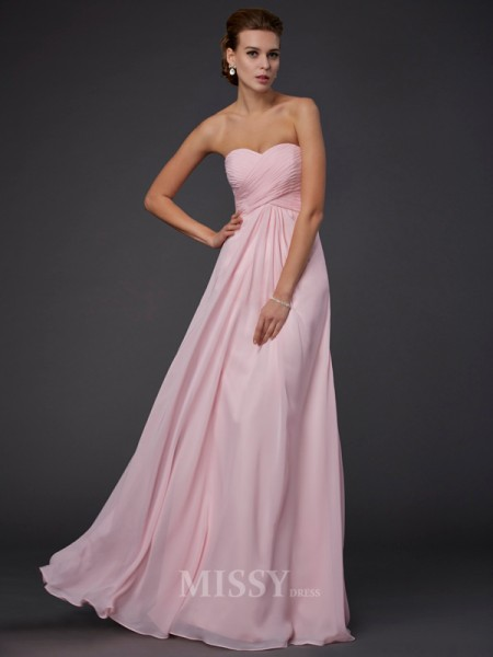 Sheath Sweetheart Floor-Length Chiffon Evening Dress With Ruffles