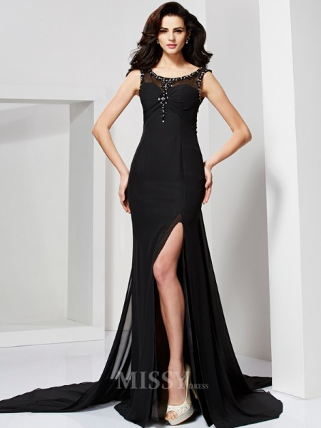 Sheath Scoop Floor-Length Chiffon Evening Dress With Beading