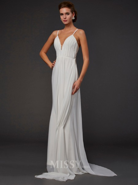 Trumpet V-neck Floor-length Chiffon Evening Dress With Ruffles
