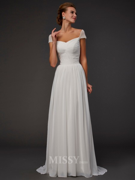 A-Line Short Sleeves Sweetheart Sweep Train Chiffon Evening Dress With Rhinestone