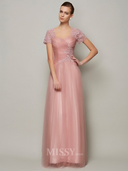 A-Line Short Sleeves Sweetheart Floor-Length Satin Evening Dress With Lace