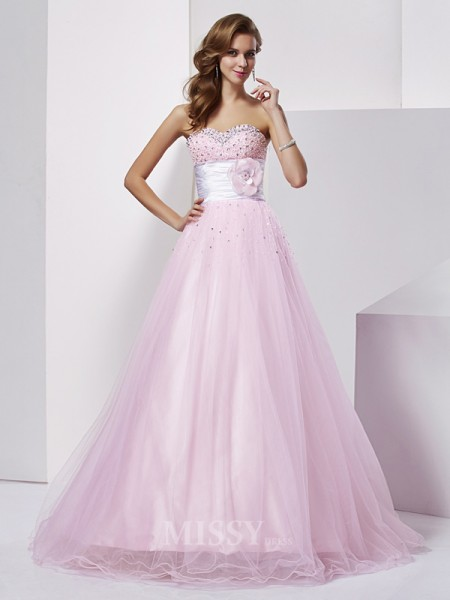 Ball Gown Sweetheart Net Elastic Woven Satin Floor-Length Evening Dress With Sequin