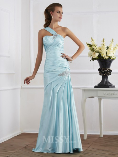 Mermaid One-Shoulder Floor-Length Elastic Woven Evening Dress With Ruffles