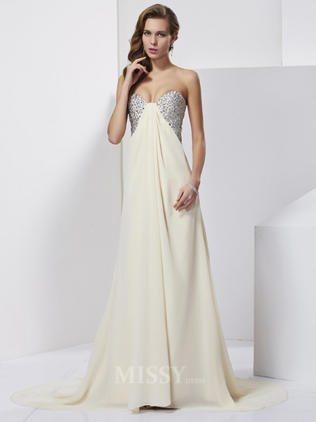 Sheath Chiffon Sweetheart Sweep Train Evening Dress With Pleats