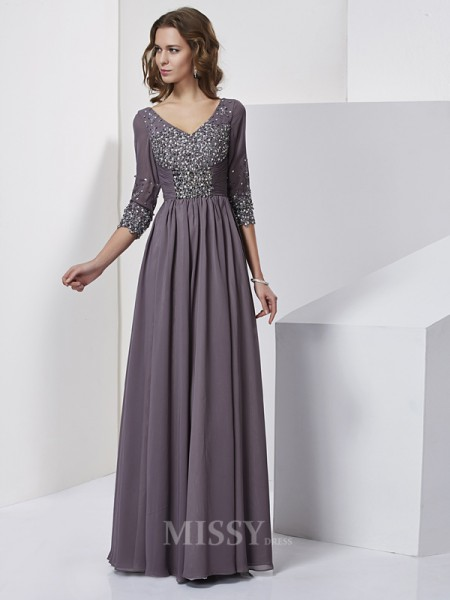 Sheath V-neck Floor-Length 3/4 Sleeves Chiffon Evening Dress With Lace