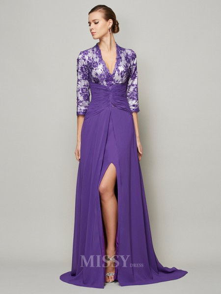 A-Line Floor-Length V-neck Sweep Train Chiffon Evening Dress With Beading
