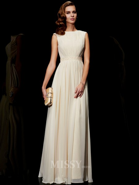 A-Line Jewel Chiffon Floor-Length Evening Dress With Beading