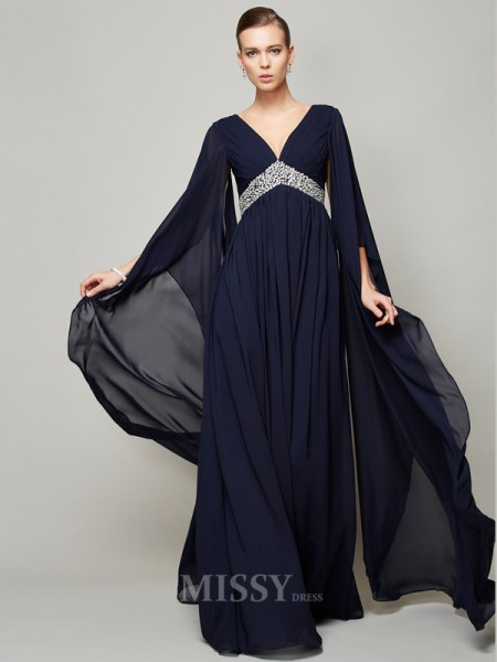 A-Line Chiffon V-neck Long Sleeves Floor-Length Evening Dress With Beading