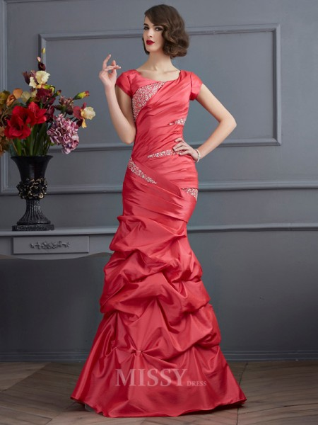 Mermaid Scoop Short Sleeves Floor-Length Taffeta Evening Dress With Beading
