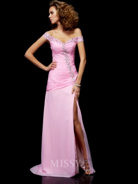A-Line Off-the-Shoulder Chiffon Evening Dress With Beading