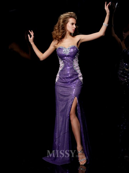 Sheath Sweetheart Elastic Woven Satin Sweep Train Evening Dress With Pleats