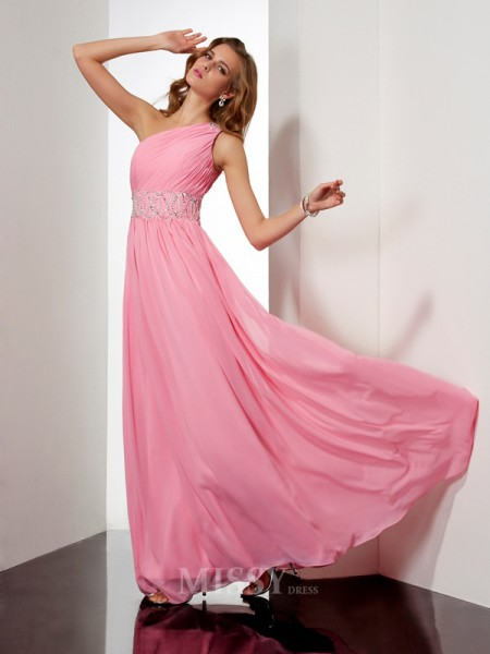A-Line Chiffon One-Shoulder Floor-Length Evening Dress With Lace
