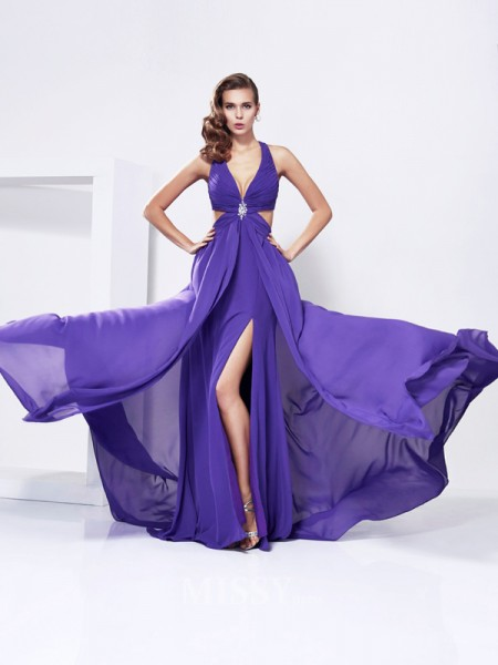 A-Line V-Neck Chiffon Sweep Train Evening Dress With Beading