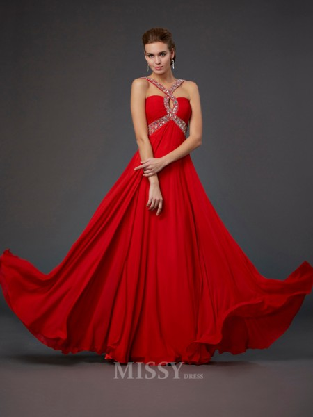 Sheath Halter Chiffon Evening Dress With Pleats