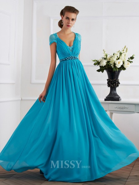 A-Line V-neck Short Sleeves Chiffon Floor-Length Evening Dress With Lace