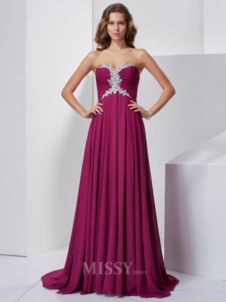 A-Line Sweetheart Sweep Train Chiffon Evening Dress With Embroidery