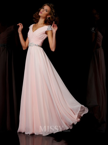 A-Line V-neck Floor-length Short Sleeves Chiffon Evening Dress With Ruffles