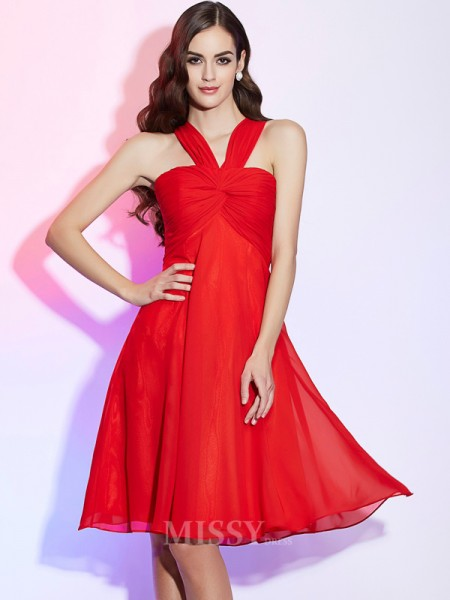 A-Line Halter Chiffon Knee-Length Bridesmaid/Evening Dress With Beading