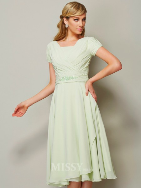 A-Line Bateau Short Sleeves Chiffon Knee-Length Bridesmaid/Evening Dress With Beading