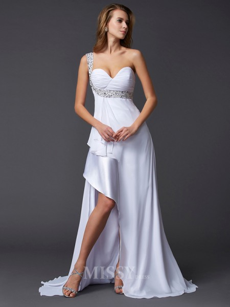 A-Line One-Shoulder Sweep Train Chiffon Evening Dress With Beading