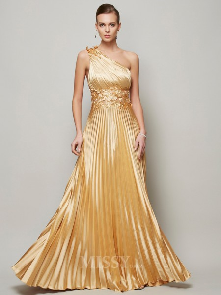 A-Line One-Shoulder Floor-Length Elastic Woven Satin Evening Dress With Beading
