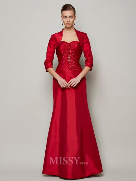 A-Line Sweetheart Floor-Length Taffeta Evening Dress With Applique
