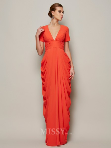 Sheath Short Sleeves V-neck Floor-length Chiffon Evening Dress With Lace