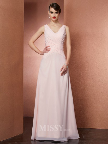 A-Line V-neck Chiffon Floor-Length Evening Dress With Ruffles