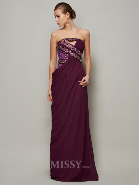 A-Line Strapless Floor-length Chiffon Evening Dress With Applique