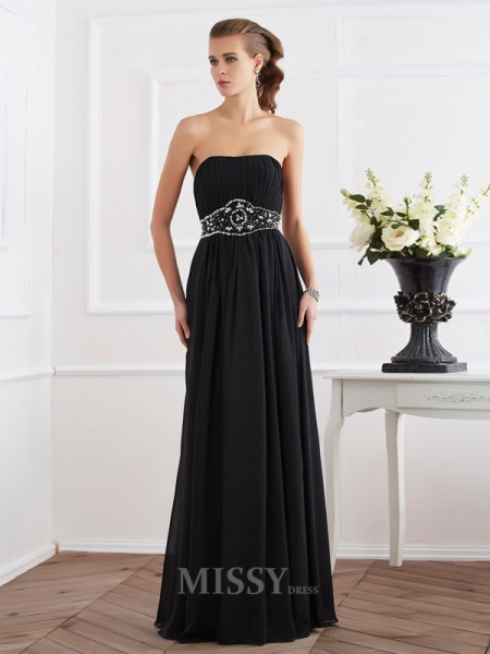 A-Line Strapless Floor-Length Chiffon Evening Dress With Rhinestone