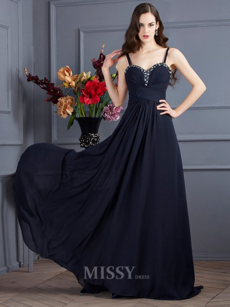 A-Line Spaghetti Straps Chiffon Sweep Train Evening Dress With Ruched