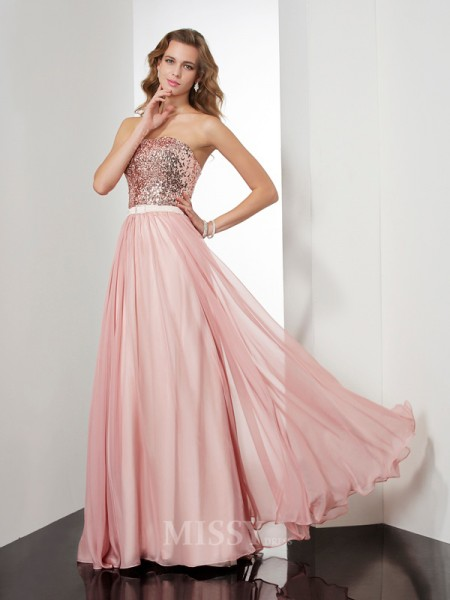 A-Line Strapless Floor-Length Chiffon Evening Dress With Ruffles
