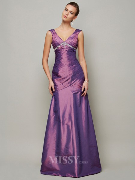 Sheath V-neck Floor-Length Taffeta Evening Dress With Applique