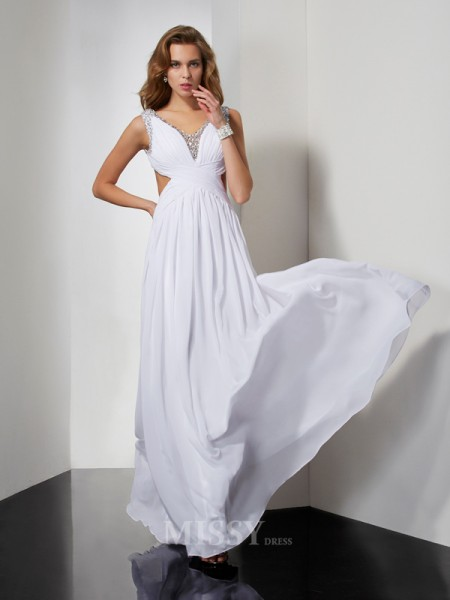 A-Line Straps Floor-length Chiffon Evening Dress With Ruched