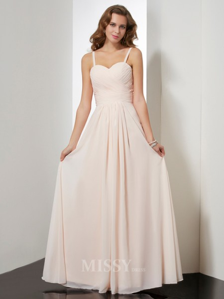 Sheath Spaghetti Straps Ruffles Floor-length Chiffon Evening Dress With Embroidery