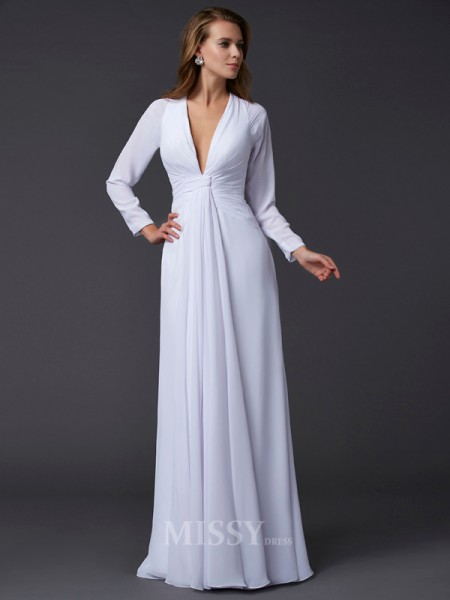 Sheath Long Sleeves V-neck Floor-Length Chiffon Evening Dress With Sash