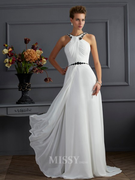 A-Line High Neck Sweep Train Chiffon Evening Dress With Applique