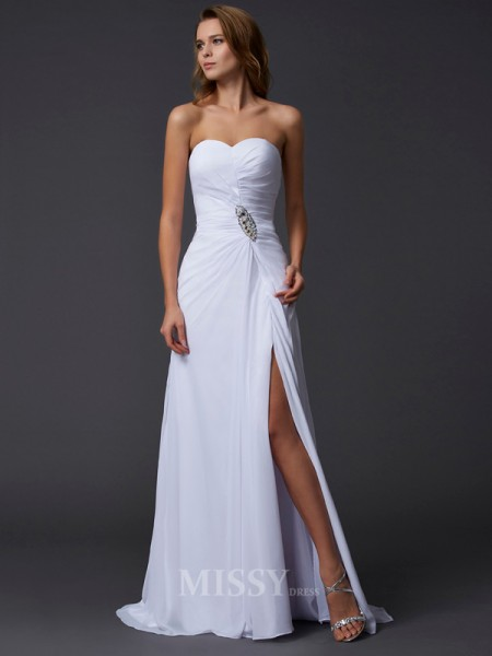 A-Line Sweetheart Chiffon Sweep Train Evening Dress With Embroidery