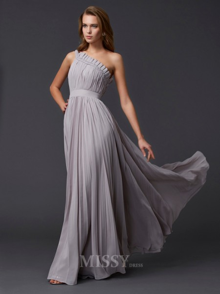 A-Line One-Shoulder Floor-Length Chiffon Evening Dress With Lace