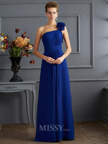 A-Line One-Shoulder Pleats Chiffon Floor-Length Evening Dress With Lace
