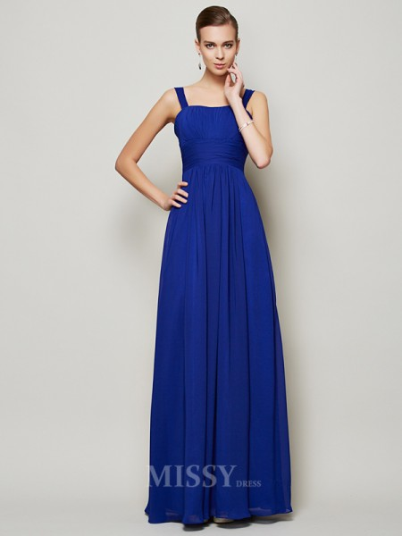 Sheath Straps Floor-Length Chiffon Evening Dress With Embroidery