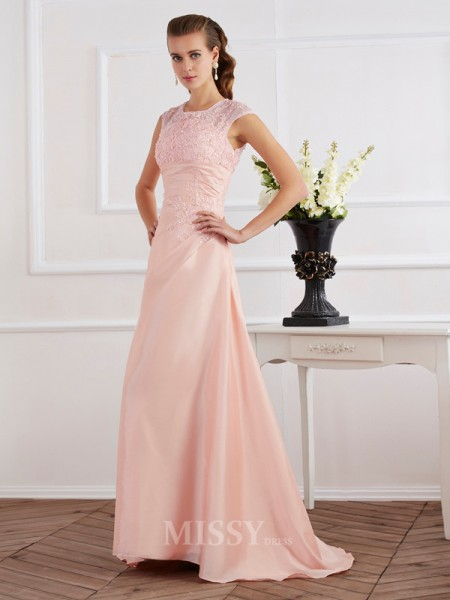 Sheath Short Sleeves High Neck Chiffon Sweep Train Evening Dress With Sash