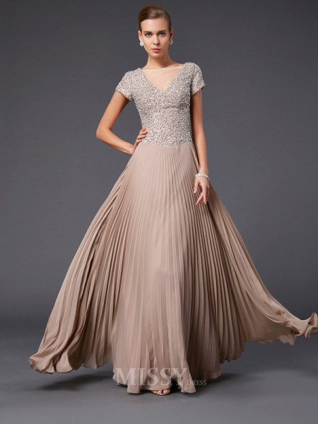 A-Line V-neck Short Sleeves Floor-length Chiffon Evening Dress With Pleats