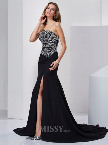 A-Line Strapless Chiffon Sweep Train Evening Dress With Beading