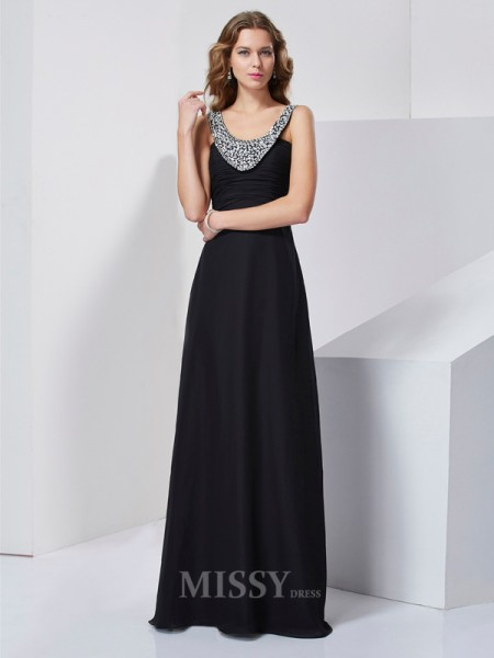 A-Line Scoop Chiffon Floor-Length Evening Dress With Ruched