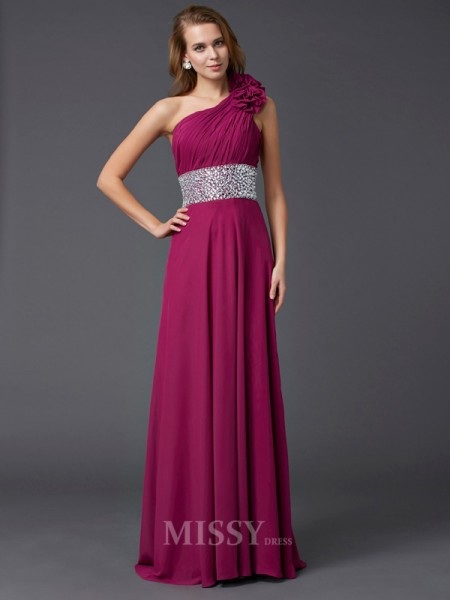 A-Line One-Shoulder Sweep Train Chiffon Evening Dress With Ruffles