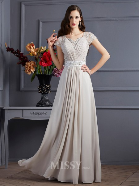 A-Line Sweetheart Short Sleeves Chiffon Floor-Length Evening Dress With Beading