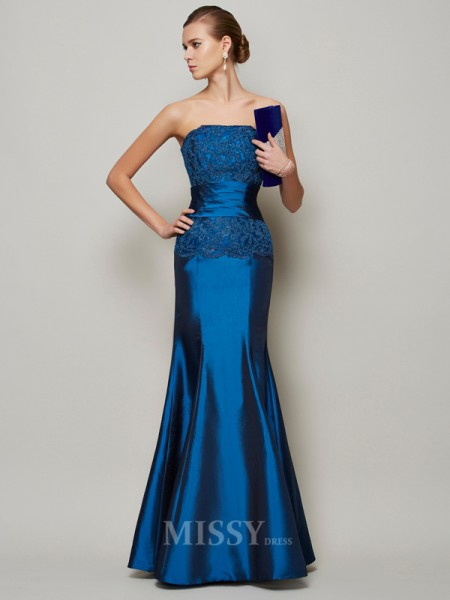 Mermaid Strapless Floor-Length Taffeta Evening Dress With Ruched