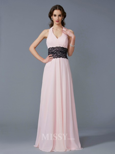 A-Line Halter Floor-Length Chiffon Evening Dress With Sequin
