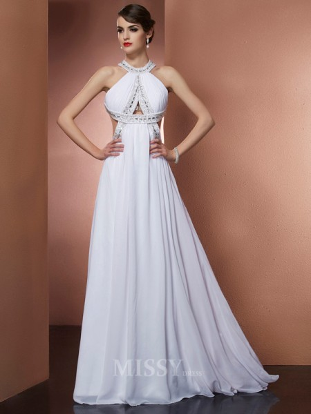 A-Line Bateau Sweep Train Chiffon Evening Dress With Sash